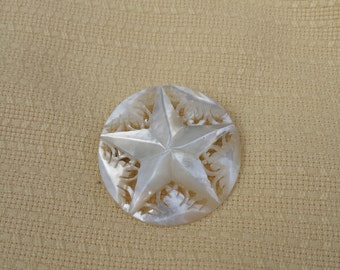 1930s Carved Mother of Pearl Brooch