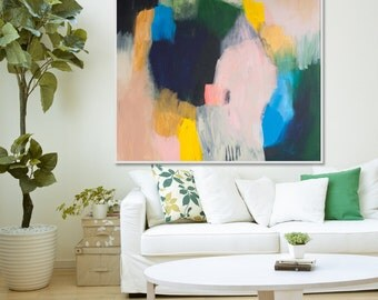 "Original abstract giclée Print of painting with beige,pink , yellow and blue.  large abstract print by Lola Donoghue ""Out of Her Loop 3"""