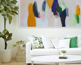 "GICLÉE Print White, yellow, blue and beige abstract print , modern art, expressionist art panoramic "" Georgia Peach"""