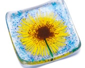 Sunflowers fused glass trinket dish tealight candle holder bowl earrings rings yellow flower blue green garden christmas xmas mum mom gift