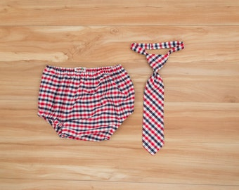 4th of July Baby Boy Outfit, Red White and Blue Clothing, Patriotic Necktie, Memorial Day Clothing, USA Clothing, Necktie and Diaper Cover
