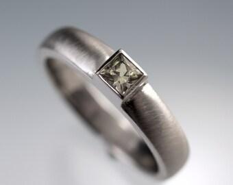 Princess Cut Creamy Sapphire Ring in Silver/Palladium Modern Bezel Set Wedding or Engagement Ring, size 6 to 8