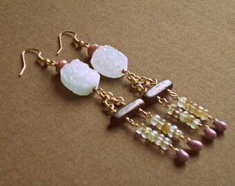 White Druzy & Golden Rutilated Quartz Dangle Earrings / bohemian earrings / double dangle earrings / boho earrings