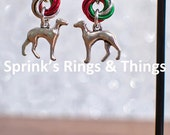 Christmas themed chain maille möbius earrings with Greyhound charm