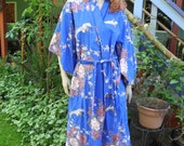 Japanese Blue Kimono Robe, Fantasy Birds of Paradise