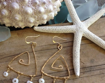 Hammered Triangle Puka Shell Chandelier Earrings