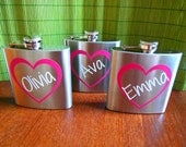 Personalized Bridesmaid and Maid of Honor Heart Name Flasks - Bridal Party Gifts - 6 oz. Stainless Steel