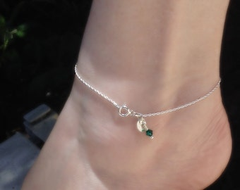 Anklet, Ankle Bracelet, Sterling Silver Rope Chain with Stamped Initial Charm and Crystal Accent