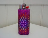 Flower of Life Perler Bead LIGHTER CASE - purple - glitter - sacred geometry