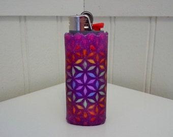 Flower of Life Perler Bead LIGHTER CASE - purple - glitter - sacred geometry