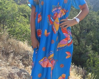 Wish Away - 70s Magical Vintage Turquoise Butterfly Muumuu Goddess Sundress, Bright Beautiful Hippie Pocket, Medium / Large OSFM