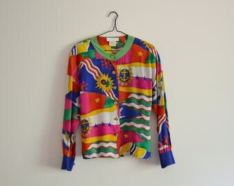 Escada Silk Blouse - designer, colourful, abstract, power blouse, avant garde, medium - large