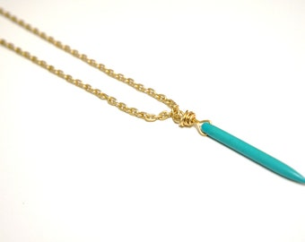 Turquoise Spike Necklace on Matte Gold Chain