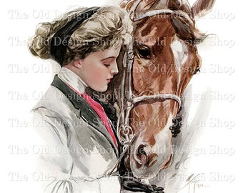 Harrison Fisher Printable Vintage Art Woman Feeding Horse Digital Download JPG Image