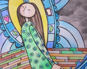Happy Woman Original Illustration