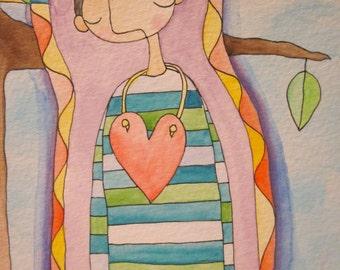 Man In Heart Necklace - Original Illustration