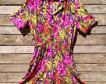 1980's Floral Jumpsuit Skort Dress
