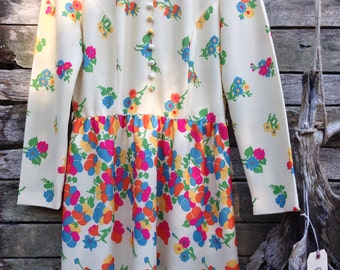 1960's Cream with Vibrant Floral High Collared Mini Dress