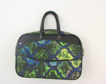 Vintage 1970s Tote Handbag Carry On in Blue & Green Trellis Print