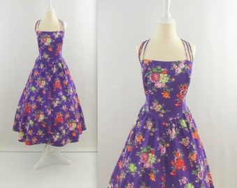 Spring Blossoms Floral Dress - Vintage 1980s does 50s Full Skirt Cotton Party Dress in Purple - Small Medium by JS Sophisticate