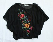 90s Sheer Floral Printed Poncho Blouse