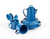 Blue Graniteware Enamel Set Coffee Pot Bowls Mugs Spoons Camping Dishware