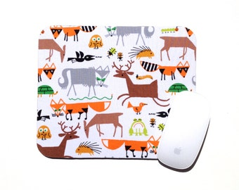 Mouse Pad / Woodland Animals / Organic / Happy Drawing / Home Office Decor