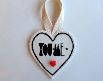 Embroidered heart ornament for Valentines day black and white with vintage red button modern valentine