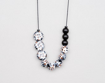 Animal Print Necklace, Black And White Necklace