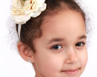 Cream Cutie -  Ivory Champagne - Stretchy Flower Headband: Fits toddler to adult - Cutie Patootie Designz