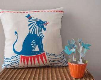 Ferris the Circus Lion Cushion with pad (original print and design)