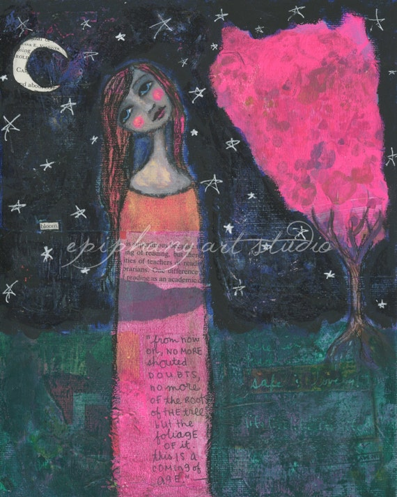 """Moonflower"" mixed media art by Beth Morey - Epiphany Art Studio"