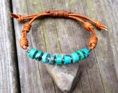 turquoise and sterling silver wired leather bracelet, knotted boho rustic jewelry