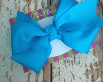 Large Boutique Style Hairbow - Turquoise Blue