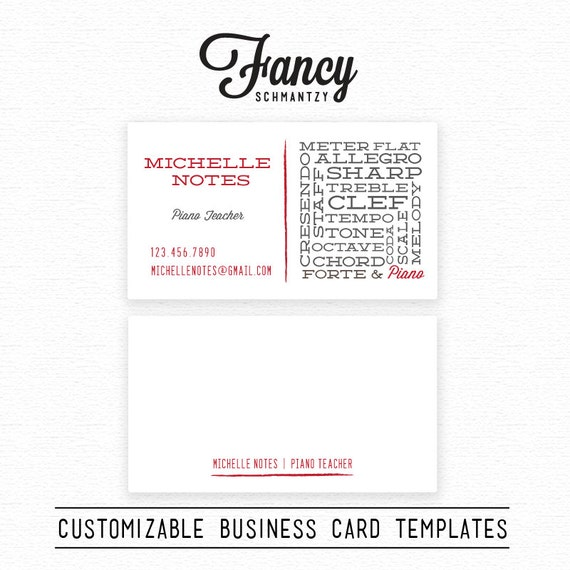 Piano teacher business card template by fancyschmantzy on etsy for Teacher business cards templates free