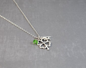 Silver Clover Necklace - 4 Leaf Clover Necklace - Personalized Birthstone Necklace - Shamrock Pendant - Initial Jewelry - Shamrock Jewelry
