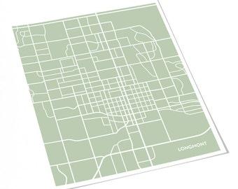 Longmont CO City Print Wall Decor / Colorado Map Art Poster / 8x10 Digital Print / Choose your color
