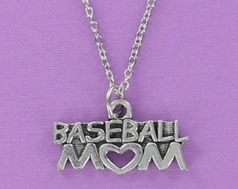 BASEBALL MOM Necklace - Pewter Charm on a FREE Plated Chain