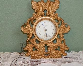 Antique New Haven CLOCK Cherubs Rococo wall victorian Baroque