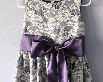 Lace Flower Girl dress in Purple and Ivory,  SizeT2 - 18