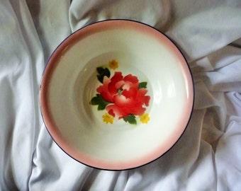 Bumper Harvest Vintage Enamel Wash Bowl with Rose Floral Motif