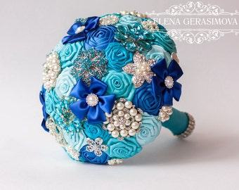 Brooch Bouquet. blue turquoise Fabric Bouquet, Unique Wedding Bridal Bouquet
