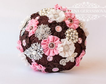 Brooch Bouquet. chocolate pink Fabric Bouquet, Vintage Bouquet, Rustic Bouquet, Unique Wedding Bridal Bouquet