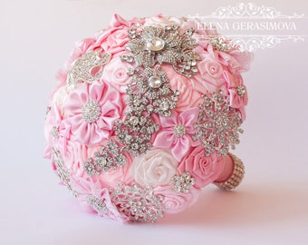 Brooch Bouquet. Pink Fabric Bouquet, Unique Wedding Bridal Bouquet