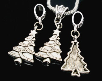 10 Christmas Tree Charms - Antique Silver - Christmas Trees - Dangle Beads - 47x18mm - Ships IMMEDIATELY from California - SC796a