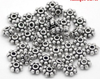 1000 Daisy Spacer Beads - 4mm - Antique Silver - Ships IMMEDIATELY from California - B1067a