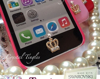 Sparkle Crown Rainbow Effect Sparkle SWAROVSKI Elements Crystal Diamond Peel and Pop Up Sticker Apple iPhone or iPad Home Button iPad iPod