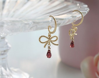 Promise Bow & Garnet Earrings, January Birthstone, Valentines Day Gifts