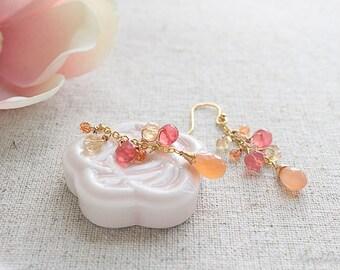 Fanta Crush Gemstone Earrings - Peach Moonstone, Pink Chalcedony, Citrine & Orange Quartz Earrings