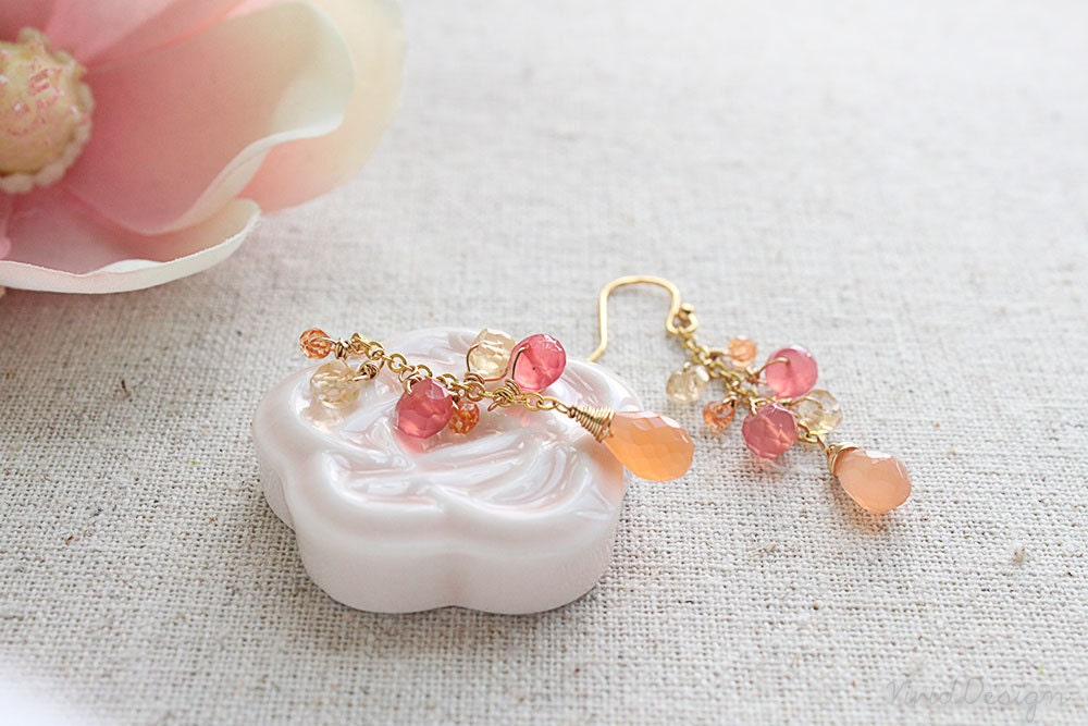Fanta Crush Gemstone Earrings Peach Moonstone Pink By